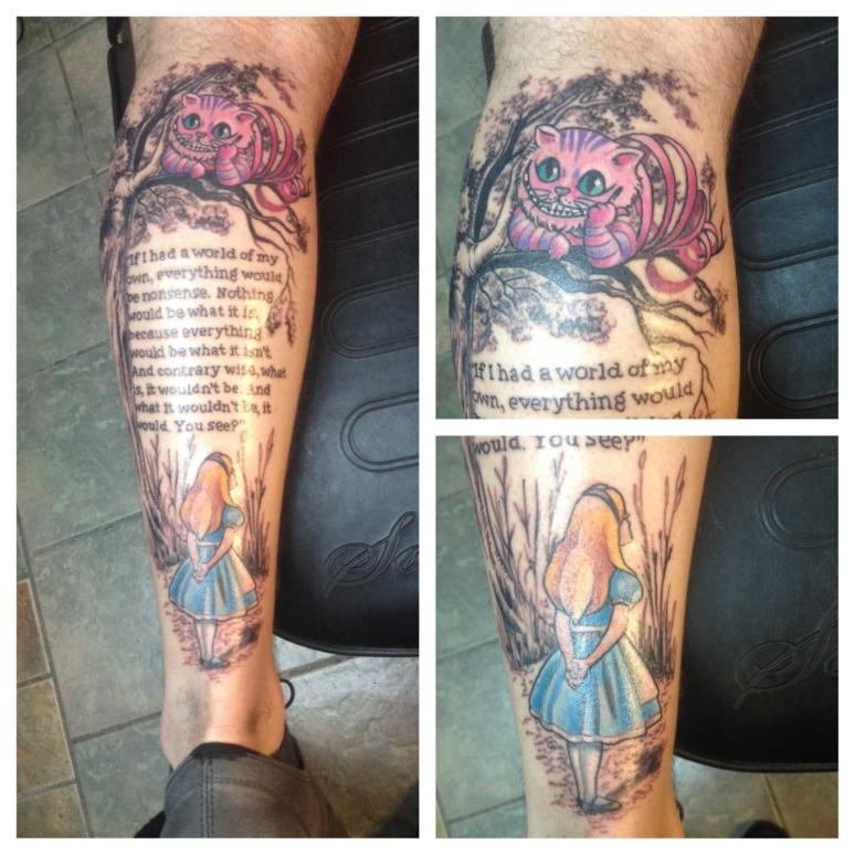 alice wonderland tattoo quotes leg