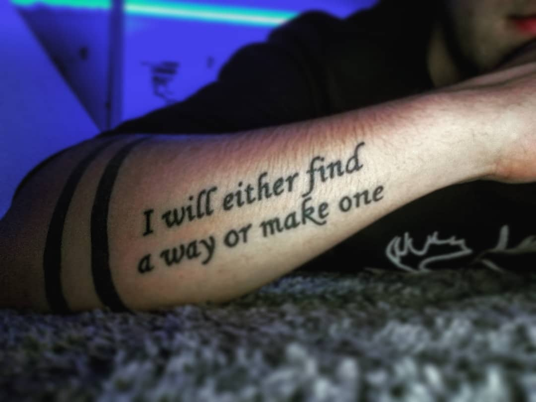 tattoo quote on forearm